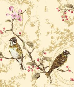 Wonderland - Cream - Patterned cream coloured fabric, printed with pink flowers and birds in dark brown-gold and white