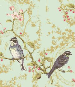 Wonderland - Aqua - Dark blue-black and white birds printed with green branches and leaves on a pale blue-green fabric background