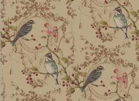 Wonderland - Antique - Light brown-green fabric printed with brown branches and very small leaves, with blue-grey coloured birds