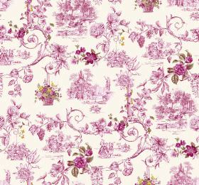Amy - Cerise - Ornate pink flowers, swirls, hanging baskets and scenes printed on bright white coloured fabric