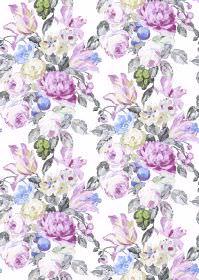 Blooming - Whitepowder - White fabric as a background for flowers and leaves in several different pastel purple and grey shades