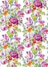 Blooming - Fuchsia - Fabric with a bright, multicoloured floral design including pink, orange and green, on a white background
