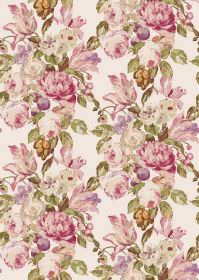 Blooming - Cream Pink - Flowers in various different shades of pink printed on white fabric with green leaves