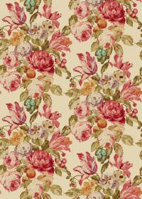 Blooming - Antique - Vintage style florals in shades of red and green on fabric in a light cream-gold colour