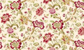 Blyton - Chintz - Deep red and olive green coloured flowers, vines and leaves printed on cream coloured fabric