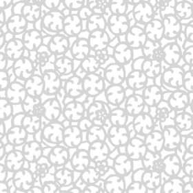 Beta (Linen Union) - 1 - Light grey circular stylised flowers printed onto white linen fabric