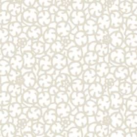 Beta (Cotton) - 2 - Pale beige stylised circular flower shapes printed to cover a white cotton fabric background