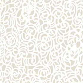 Iota (Linen Union) - 2 - White swirls in random shapes over light brown linen fabric