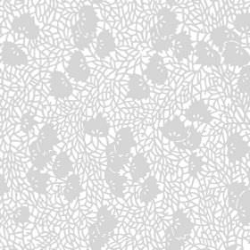 Omega (Cotton) - 1 - White cotton fabric covered in a grey shatter effect pattern with some small grey leaves