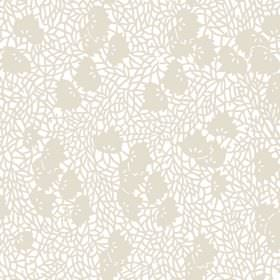 Omega (Linen Union) - 2 - White linen fabric covered in a beige design which looks like it has shattered, along with some beige leaves