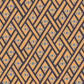 Congo (Linen Union) - 1 - Orange linen fabric printed with black lines and small blue geometric shapes