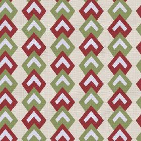Kenia (Linen Union) - 2 - White chevrons within red and green geometric shapes, on a cream coloured linen fabric