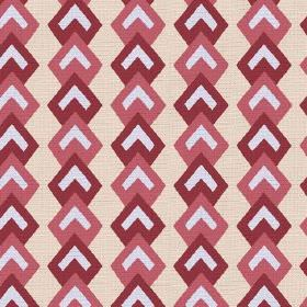 Kenia (Cotton) - 3 - Dark and light red geometric shapes with white chevrons, printed onto cotton fabric in a light cream colour