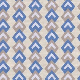 Kenia (Linen Union) - 4 - Rows of cobalt blue and grey geometric shapes with white chevrons on a cream coloured linen fabric background