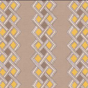 Burundi (Linen Union) - 1 - Light brown linen fabric with cream coloured bands which have been woven together, and brown and yellow diamonds