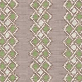 Burundi (Linen Union) - 2 - Rows of green and white diamonds with thin white bands, printed onto light grey linen fabric