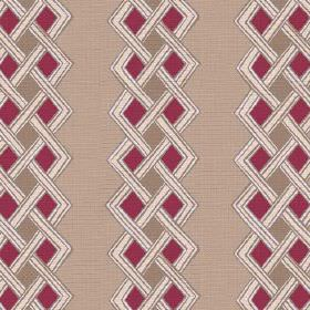 Burundi (Linen Union) - 3 - Dark red and brown diamond shapes on beige coloured linen fabric, with rows of white plaited lines
