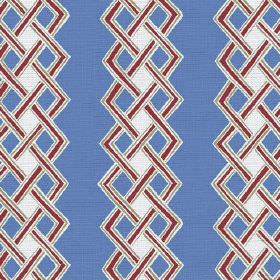 Burundi (Linen Union) - 4 - Deep red plaited lines encasing white and blue diamonds on a cobalt blue linen fabric background