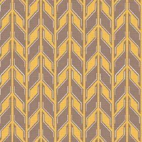 Pretoria (Linen Union) - 1 - Linen fabric covered in rows of brown and mustard yellow coloured geometric shapes