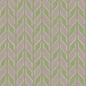 Pretoria (Linen Union) - 2 - Green and light purple geometric shapes running in rows down linen fabric