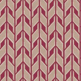 Pretoria (Linen Union) - 3 - Fabric made from red and beige linen, with rows of repeated geometric shapes
