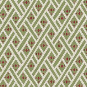 Congo (Linen Union) - 2 - Diagonal white stripes and small red geometric shapes printed on light green linen fabric