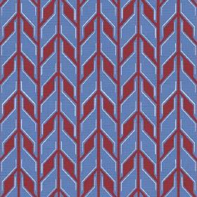 Pretoria (Linen Union) - 4 - Red and cobalt blue coloured geometric print linen fabric
