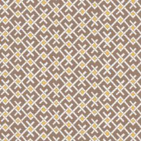 Bangui (Linen Union) - 1 - Brown linen fabric with a white and mustard yellow geometric print design
