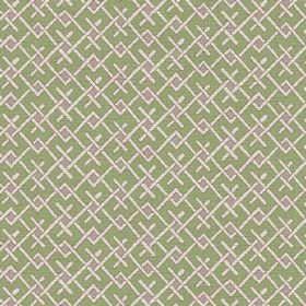 Bangui (Linen Union) - 2 - Repeated geometric design in cream and light purple over an apple green linen background
