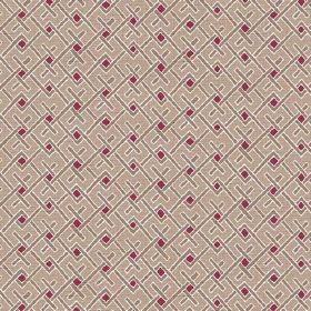 Bangui (Linen Union) - 3 - Linen fabric in beige, printed with a brown, white and deep red design which is made of geometric shapes