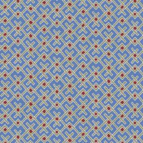 Bangui (Linen Union) - 4 - Cobalt blue cotton fabric with red squares and lines in grey and white