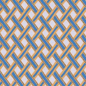 Kinshasa (Cotton) - 1 - Off-white cotton fabric with a pattern of orange-edged blue stripes which have been woven over each other