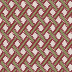 Kinshasa (Cotton) - 2 - Woven, diagonal stripes of green with red edging, printed onto white cotton fabric