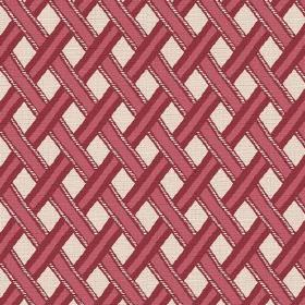 Kinshasa (Cotton) - 3 - Stripes in 2 different shades of red which appear as though they have been woven over each other, on cream cotton fa