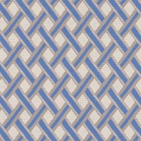 Kinshasa (Cotton) - 4 - Diagonal blue stripes edged in silver which have been woven together, printed on cotton fabric in a cream colour
