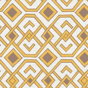 Durban (Linen Union) - 1 - Mustard yellow and grey-brown coloured geometric shapes printed onto plain white linen