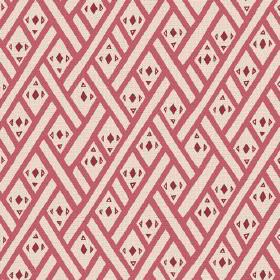 Congo (Linen Union) - 3 - Tiny red diamonds and triangles printed within light red lines on a cream coloured linen fabric background