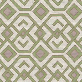 Durban (Linen Union) - 2 - Fabric made from linen in an off-white colour, with geometric shapes in pale shades of green and grey