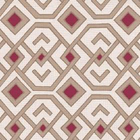 Durban (Cotton) - 3 - Burgundy coloured squares with beige geometric shapes printed on cotton in an off-white colour