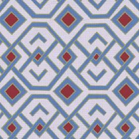 Durban (Linen Union) - 4 - Geometric design made up of mid blue hexagons and squares, dark red squares and a pale blue background, on linen