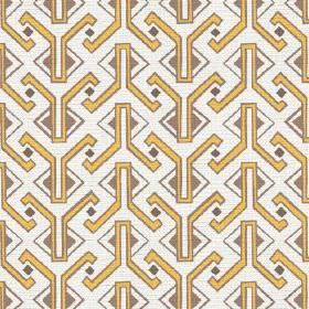 Luanda (Linen Union) - 1 - White linen fabric with mustard yellow and brown coloured Egyptian style geometric shapes