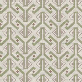Luanda (Linen Union) - 2 - Geometric shapes in an Egyptian style in green, grey and dark red-brown printed onto a pale coloured linen fabric