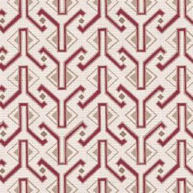 Luanda (Linen Union) - 3 - Dark red and beige coloured geometric shapes printed on a neutral, off-white coloured fabric made from linen