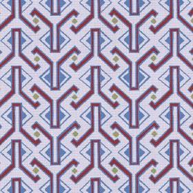 Luanda (Cotton) - 4 - Purple, blue and green-grey Egyptian style geometric shape patterned cotton fabric