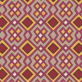 Dakar (Cotton) - 1 - Geometric pattern in dark red, mustard yellow, light brown and white, printed onto cotton fabric