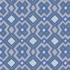 Dakar (Linen Union) - 2 - A variety of different shades of blue completing a geometric design printed onto linen fabric