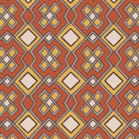 Dakar (Cotton) - 3 - Dark orange, mustard yellow, cream and grey coloured geometric print cotton fabric