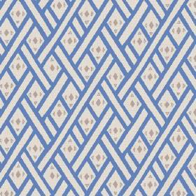 Congo (Linen Union) - 4 - Blue and white diagonal lines upon a white linen fabric background, with small green triangles and diamonds
