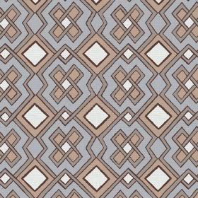 Dakar (Linen Union) - 4 - Square shapes and lines in grey, light blue, white and beige on linen fabric
