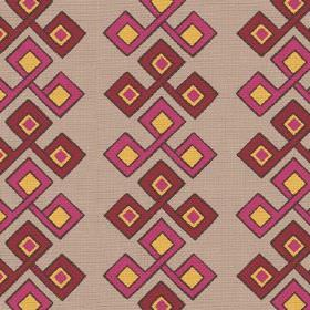 Togo (Linen Union) - 1 - A pink, blood red and mustard yellow square pattern repeatedly printed over beige linen fabric